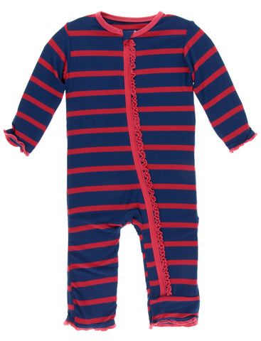 KicKee Pants Everyday Heroes Navy Stripe Muffin Ruffle Coverall with Zipper
