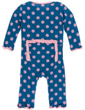 KicKee Pants Twilight Dot Muffin Ruffle Coverall with Zipper