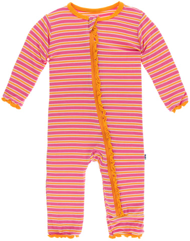 KicKee Pants Flamingo Brazil Stripe Muffin Ruffle Coverall with Zipper