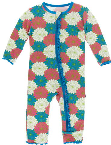 KicKee Pants Tropical Flowers Muffin Ruffle Coverall with Zipper