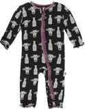 KicKee Pants Zebra Tuscan Cow Muffin Ruffle Coverall with Zipper