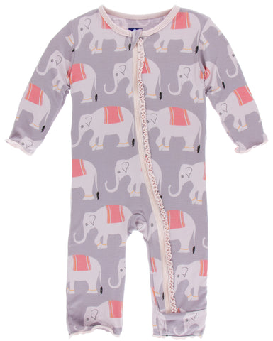KicKee Pants Feather Indian Elephant Muffin Ruffle Coverall with Zipper Basically Bows & Bowties