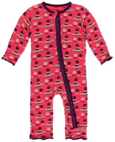 KicKee Pants Red Ginger Aliens with Flying Saucers Muffin Ruffle Coverall with Zipper