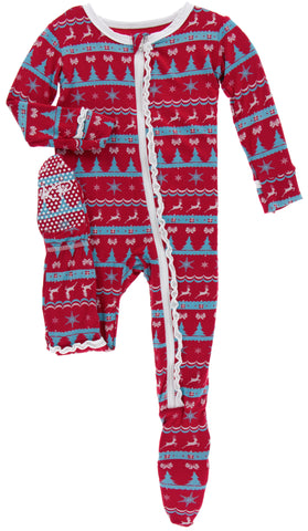 KicKee Pants Nordic Print Layette Ruffle Footie with Zipper