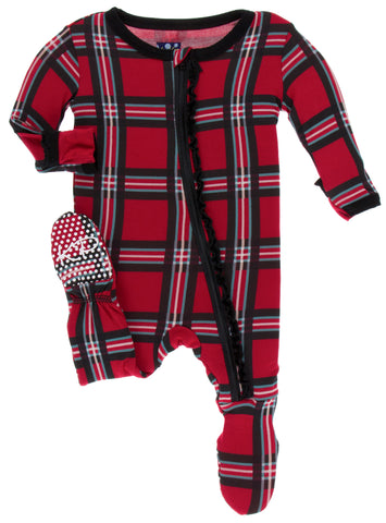 KicKee Pants Christmas Plaid 2019 Muffin Ruffle Footie with Zipper Basically Bows & Bowties