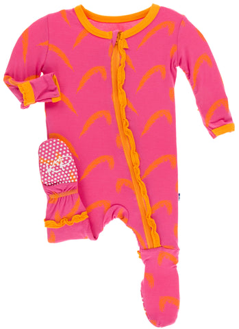 KicKee Pants Carnival Feathers Layette Classic Ruffle Footie with Zipper
