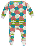 KicKee Pants Tropical Flowers Layette Classic Ruffle Footie with Zipper-PRESALE - Basically Bows & Bowties