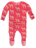 KicKee Pants Red Ginger Unicorns Muffin Ruffle Footie with Zipper