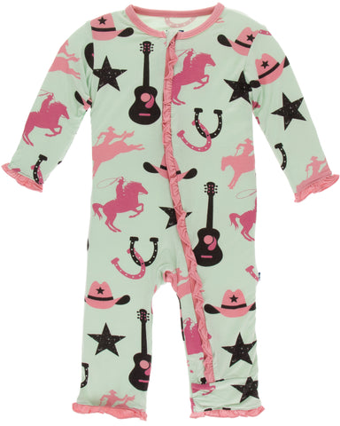 KicKee Pants Pistachio Cowboy Classic Ruffle Coverall with Zipper
