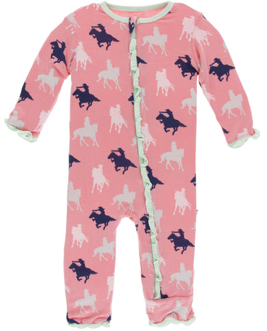 KicKee Pants Strawberry Cowgirl Muffin Ruffle Coverall with Zipper