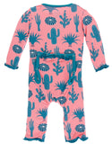 KicKee Pants Strawberry Cactus Layette Classic Ruffle Coverall with Zipper