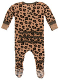 KicKee Pants Suede Cheetah Print Layette Classic Ruffle Footie with Zipper