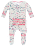 KicKee Pants Natural Japanese Cherry Tree Layette Classic Ruffle Footie with Zipper