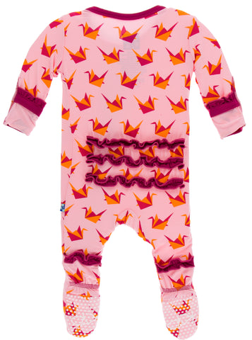 KicKee Pants Lotus Origami Crane Layette Classic Ruffle Footie with Zipper