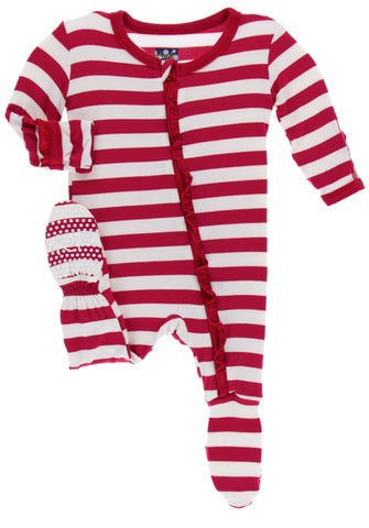 KicKee Pants Candy Cane Stripe 2019 Classic Ruffle Footie with Zipper Basically Bows & Bowties