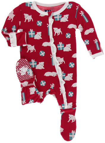 KicKee Pants Crimson Puppies and Presents Classic Ruffle Footie with Zipper Basically Bows & Bowties