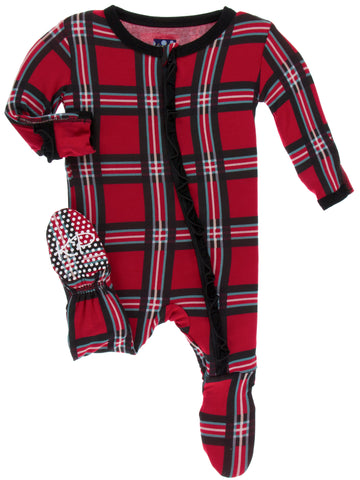 KicKee Pants Christmas Plaid 2019 Classic Ruffle Footie with Zipper Basically Bows & Bowties