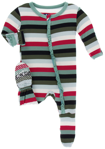 KicKee Pants Christmas Multi Stripe Classic Ruffle Footie with Zipper Basically Bows & Bowties