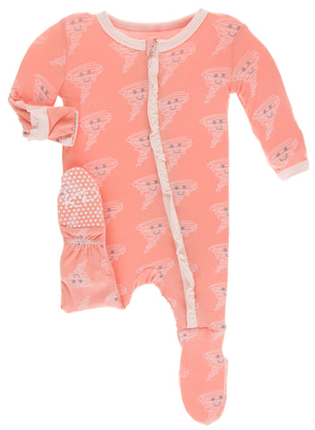 KicKee Pants Blush Happy Tornado Classic Ruffle Footie with Zipper Basically Bows  & Bowties