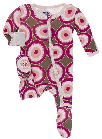 KicKee Pants Falcon Agate Slices Classic Ruffle Footie with Zipper Basically Bows & Bowties