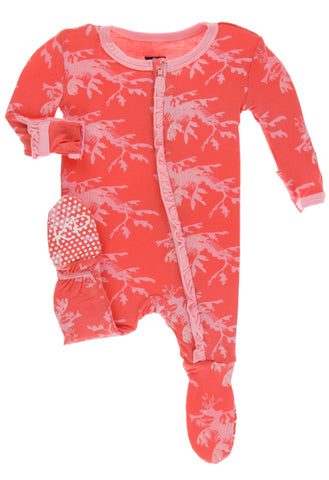 KicKee Pants English Rose Leafy Sea Dragon Classic Ruffle Footie with Zipper