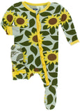 KicKee Pants Aloe Sunflower Classic Layette Ruffle Footie with Zipper