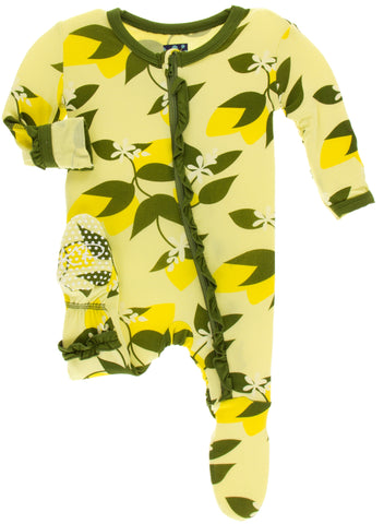 KicKee Pants Lime Blossom Lemon Tree Classic Layette Ruffle Footie with Zipper