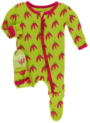 KicKee Pants Meadow Chili Pepper Layette Classic Ruffle Footie with Zipper