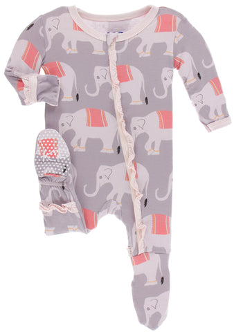 KicKee Pants Feather Indian Elephant Classic Ruffle Footie with Zipper Basically Bows & Bowties