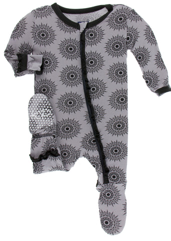 KicKee Pants Feather Mandala Classic Ruffle Footie with Zipper Basically Bows & Bowties