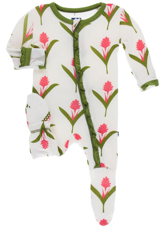 KicKee Pants Natural Red Ginger Flowers Classic Ruffle Footie with Zipper