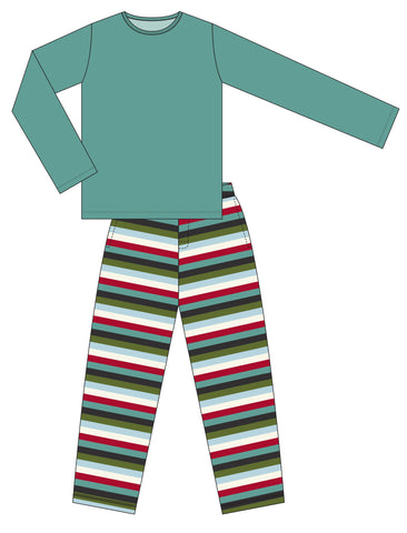 KicKee Pants Christmas Multi Stripe Men's Long Sleeve Pajama Set Basically Bows & Bowties