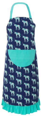 KicKee Pants Flag Blue Unicorns Adult Ruffle Apron