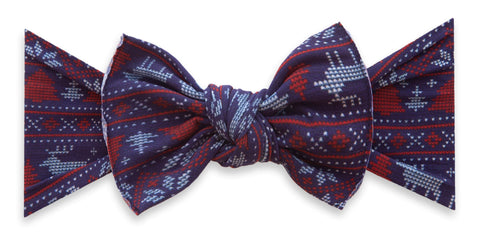 Baby Bling Blue Fairisle Printed Knot Headband Basically Bows & Bowties