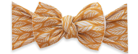 Baby Bling Mustard Leaf Printed Knot Headband Basically Bows & Bowties