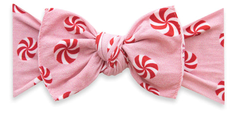 Baby Bling Pink Peppermint Printed Knot Headband Basically Bows & Bowties