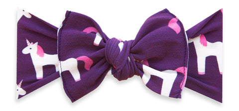 Baby Bling Plum Unicorn Printed Knot Headband Basically Bows & Bowties