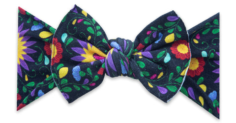 Baby Bling Black De Flores Printed Knot Headband -