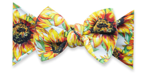 Baby Bling Golden Sunflowers Printed Knot Headband
