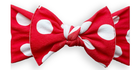 Baby Bling Red Polka Dot Printed Knot Headband