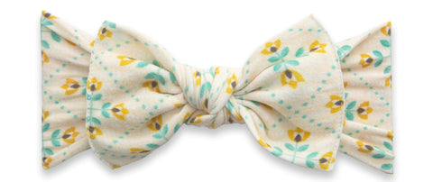 Baby Bling Yellow Tulips Printed Knot Headband