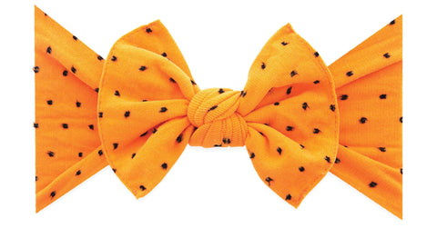 Baby Bling Orange Black Shabby Dot Patterned Headband Basically Bows & Bowties