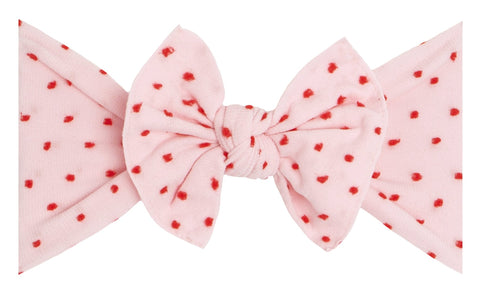 Baby Bling Pink w/Red Shabby Dot Knot Headband