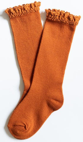 Little Stocking Co Pumpkin Spice Lace Top Knee High Socks