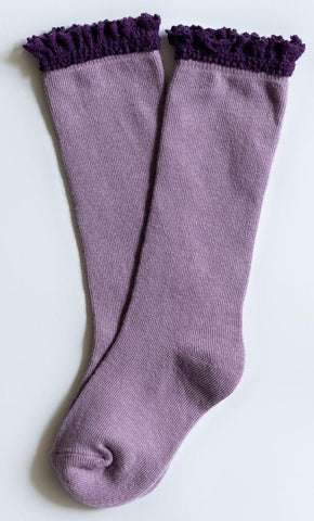 Little Stocking Co  Purple + Plum Lace Top Knee High Socks