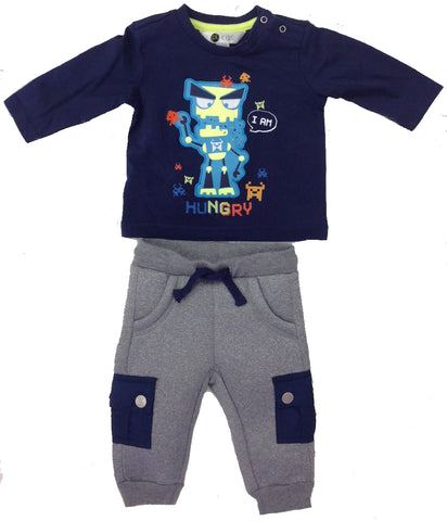 Petit Lem PL Kids Long Sleeve Video Game Top & Pull On Jogger Pants Set