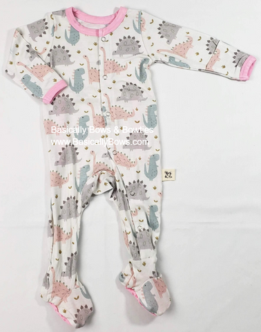 Kozi & Co Pink Dino Footie Basically Bows & Bowties