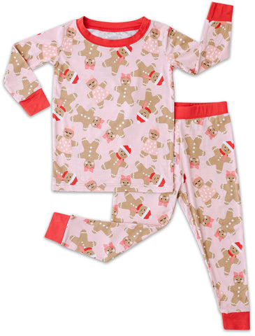 Little Sleepies Pink Gingerbread Bamboo 2pc Pajama Set