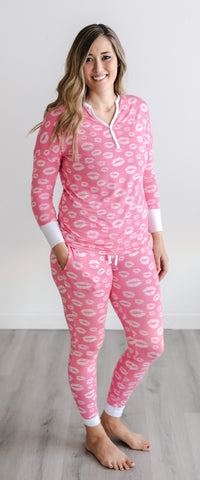 Little Sleepies Pink Kisses Two-Piece Women's Bamboo Pajama Set
