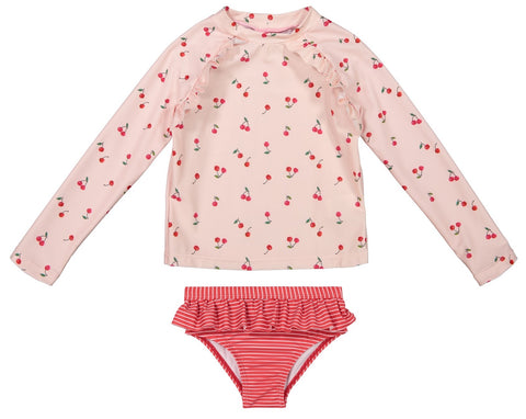 Andy & Evan Pink Cherry Long Sleeve Rashguard Set